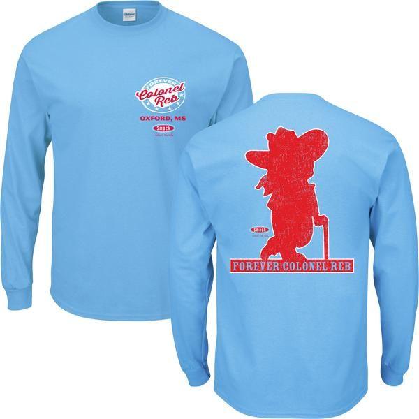 Ole Miss Rebels Fans Colonel Reb Light Blue Long Sleeve T Shirt Ole Miss Rebels Ole Miss Long Sleeve Tshirt
