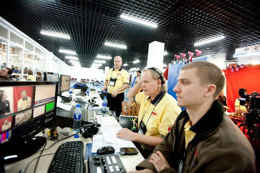 A behind the scenes shot of the ICPC Live video crew.    #ICPCLive #China #ICPC2010