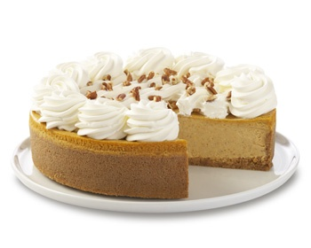 Original Cheesecake with delicious Spiced Pumpkin filling a Graham Cracker Crust and finished with Whipped Cream Rosettes and Chopped Pecans.