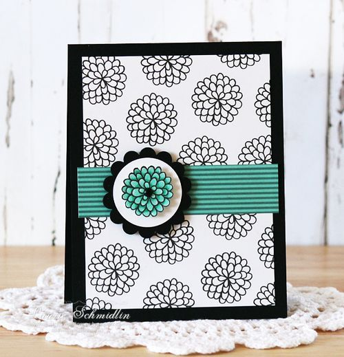 handmade card ...black and white  with a punch of teal ... luv the line art zinnea ...