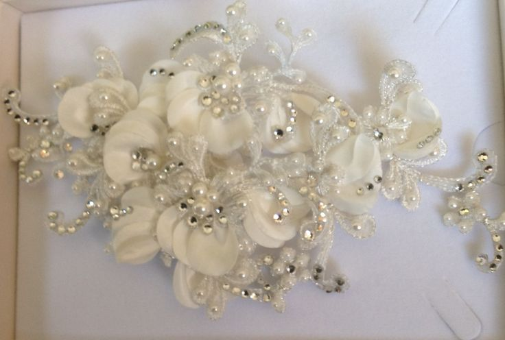 Bridal lace headpiece with Swarovski crystals & ivory pearls.