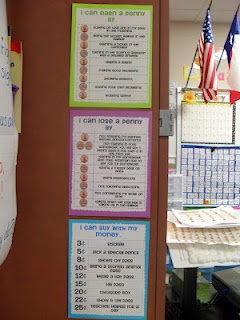 Classroom Economy-young students earn pennies and exchange pennies for larger coins