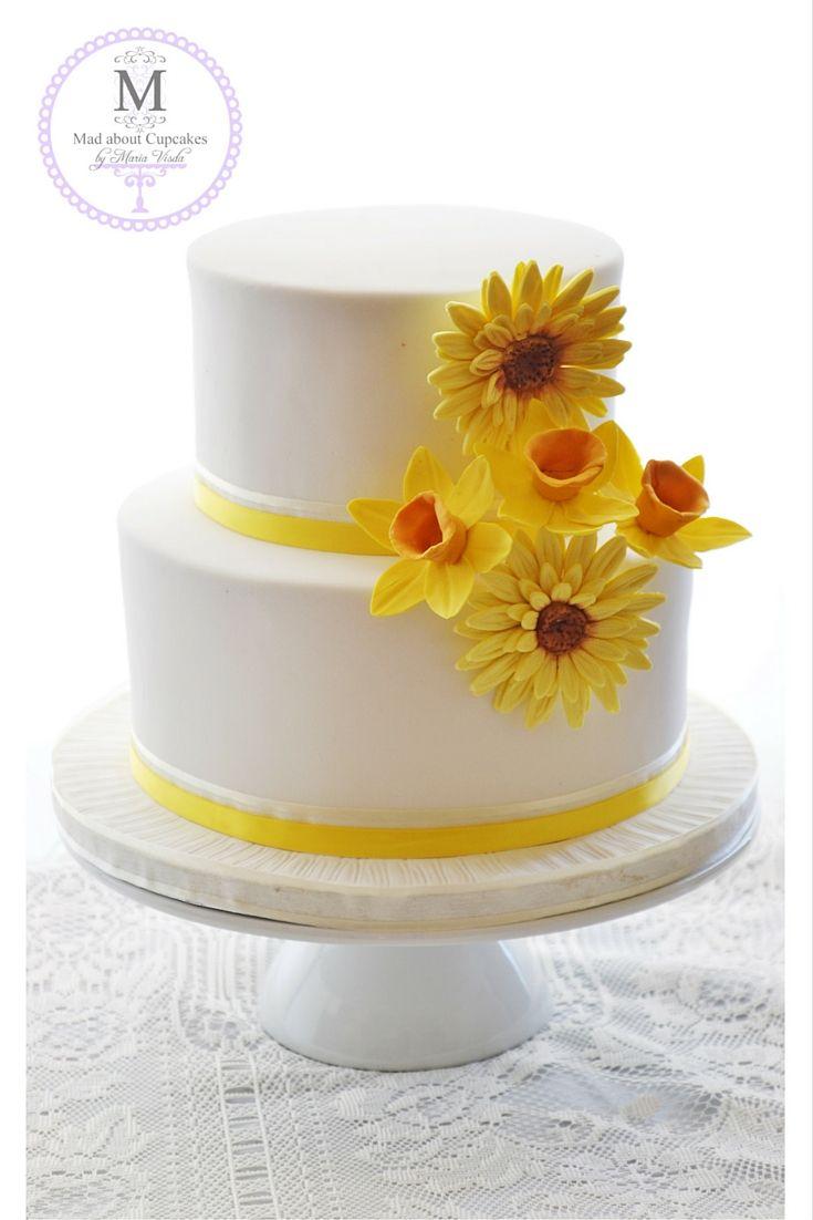 Yellow & White with Yellow sugar flowers