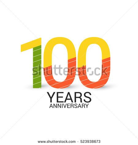 100 Years Anniversary Colorful and Simple Design Style. Logo Celebration Isolated on White Background