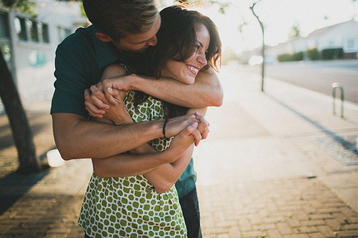 hug and smile.