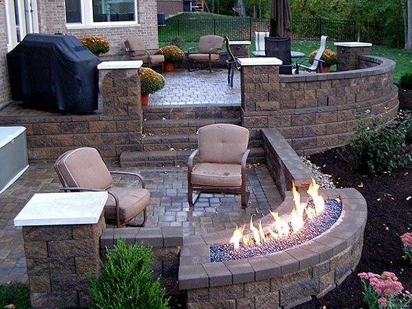 backyard patio, patio chairs, umbrella, gas firepit, stairs, Back Yards, Patio, Fire Pits / Fireplaces, Curves, Posts, Walls  Courtyard
