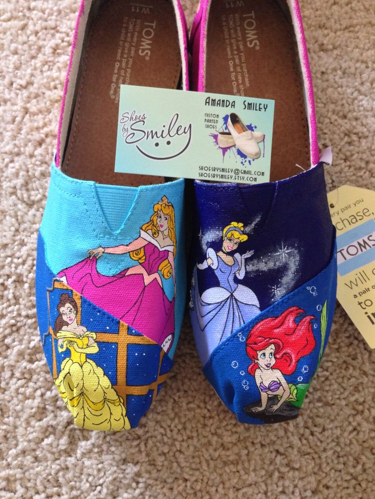 Disney Princesses with Cinderella, Ariel, Belle, and Sleeping Beauty Hand Painted Toms/Vans TOE ONLY by ShoesBySmiley on Etsy https://www.etsy.com/listing/202475160/disney-princesses-with-cinderella-ariel