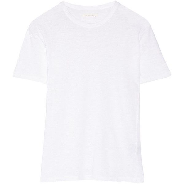 Étoile Isabel Marant Keiran slub linen T-shirt (£130) ❤ liked on Polyvore featuring tops, t-shirts, white, white t shirt, white linen top, relax t shirt, relaxed fit tops and linen tee