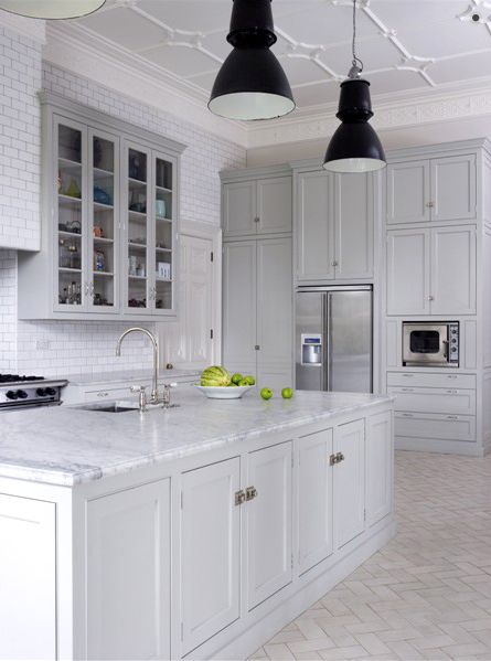 Dream kitchen w/ soft grey inset cabinetry + limestone herringbone floors + amazing ceiling - by Holloways of Ludlow