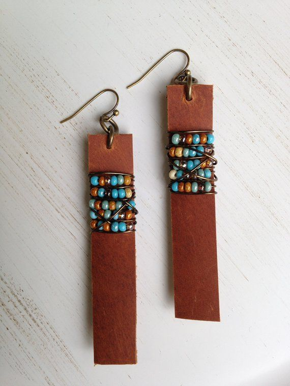 Leather Bar earrings with Turquoise southwestern beads, Boho earrings, Christmas gift for her, gift under 50