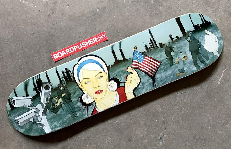 "BoardPusher Custom Skateboards Featured Deck of the Week: ""Trust Me"" by Trilogy Gunby available at www.BoardPusher.com/shop/TrilogyGunby. 4th of July skateboard art"