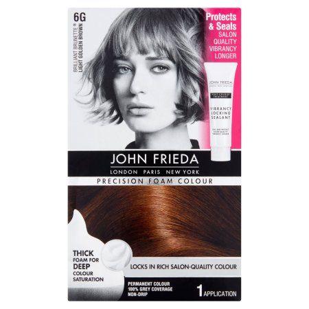 John Frieda Precision Foam Colour Brilliant Brunette 6G Light Golden Brown Permanent Colour, 1.0 KIT