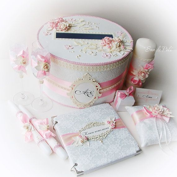 Luxury Wedding Accessories Set, Wedding guest book, Wedding box, Ring pillow, Toasting glasses, Candles, Guest cards, Gift for Couple