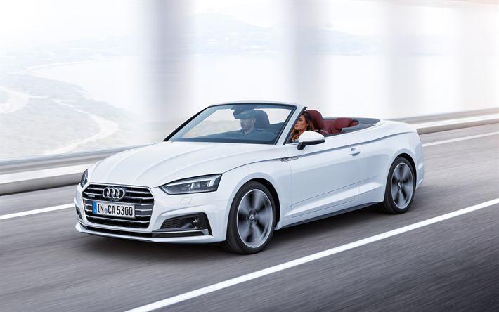 Herunterladen hintergrundbild audi a5 cabriolet, 2018, 4k, weiß a5 cabriolet, neuwagen, deutsche autos, audi