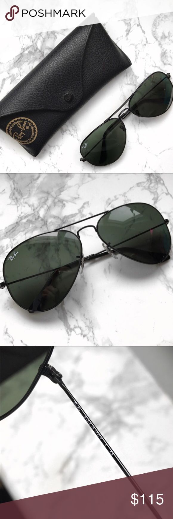 NEW AUTHENTIC Unisex Black Frame Ray Ban A brand new pair of authentic ray bands aviator sunglasses. They are made in Italy and I have posted pictures above.   MODEL: RB 3025 L2823 in black/crystal grey. LENS WIDTH: 58.   Non-Polarized.   🚫No Trades🚫 ✨Reasonable Offers✨ Ray-Ban Accessories Sunglasses