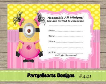 DIY FILL IN Yourself Minions Thank You by PartyAllsortsDesigns