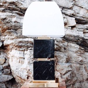 Double black marble lamp with gold metal parts
