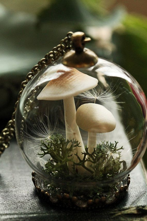 Two tiny little mushrooms push their way up through a bed of woodland moss and dandelion wishes in this magical miniature terrarium pendant. A perfect capsule garden for flower faeries and mushroom foragers alike! This pendant is suspended on a bronze rolo chain, which is available in 3 lengths. All the findings are nickel-free bronze. The glass globe measures about 30mm and is much sturdier than it looks, this piece was designed for regular wear. See more miniature terrarium jewellery…