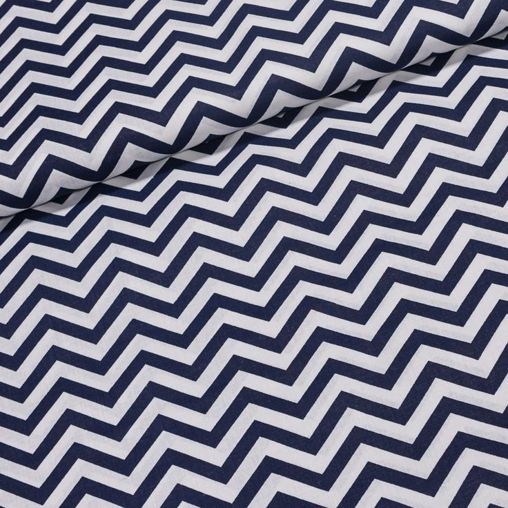 Bavlněné plátno ZIG ZAG tmavě modrý a bílý, š.140cm (látka v metráži) | Internetový obchod Chci Látky.cz