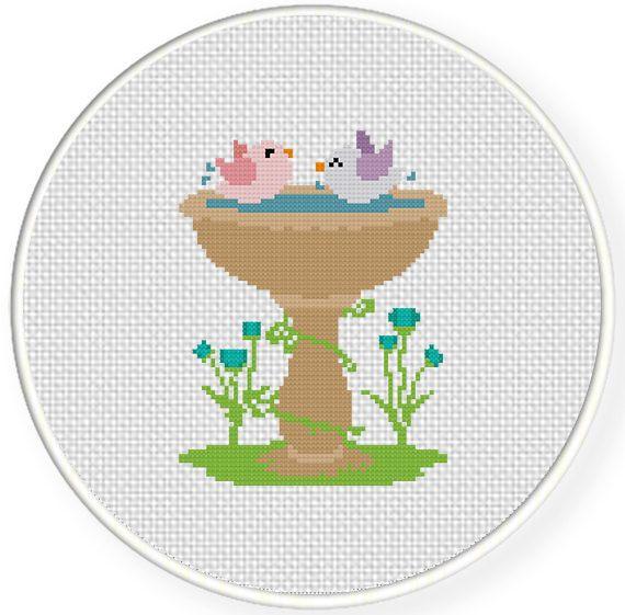 birdhouse+cross+stitch | Charts Club Members Only: Bird Bath Cross Stitch Pattern
