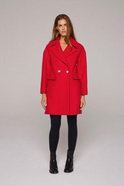 Manteau rouge esprit rétro en drap de laine armuré #manteau #rouge #laine #femme #qualité #lenerfabriquedemanteaux