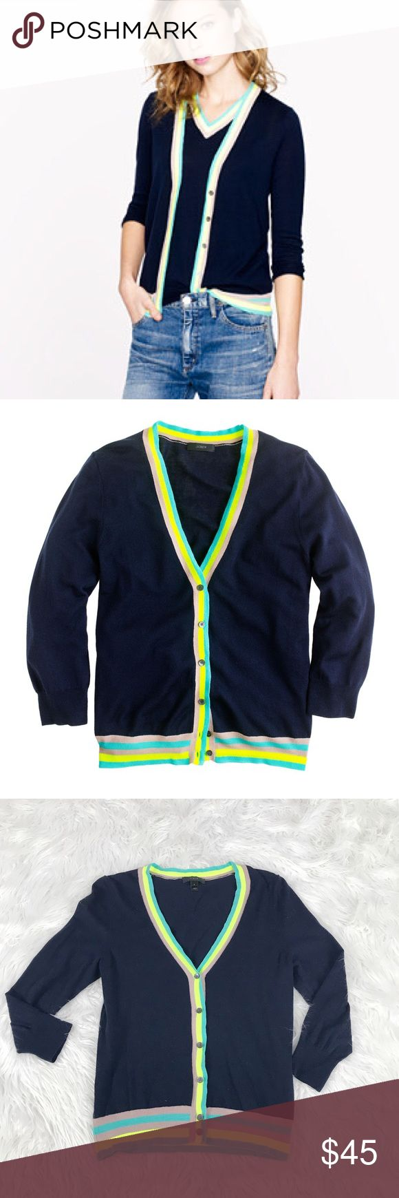 """J. Crew Merino Wool Neon Trim Cardigan Sweater 22"""" length 17.5"""" armpit to armpit. Lightweight. Merino wool style. Stripe pattern in neon colors. Cardigan sweater. Excellent condition. Bundle 2+ items for a discount. J. Crew Sweaters Cardigans"""