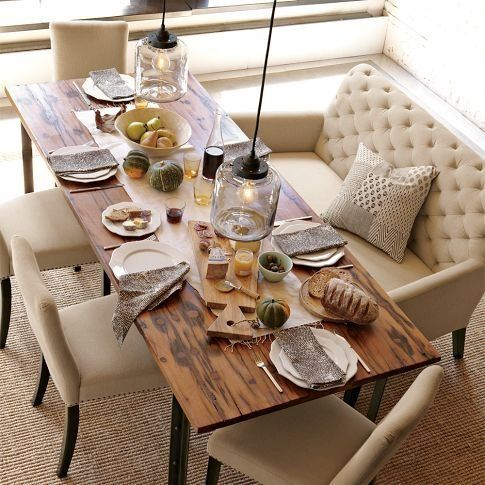 Rustic table w/ chic dining chairs = love