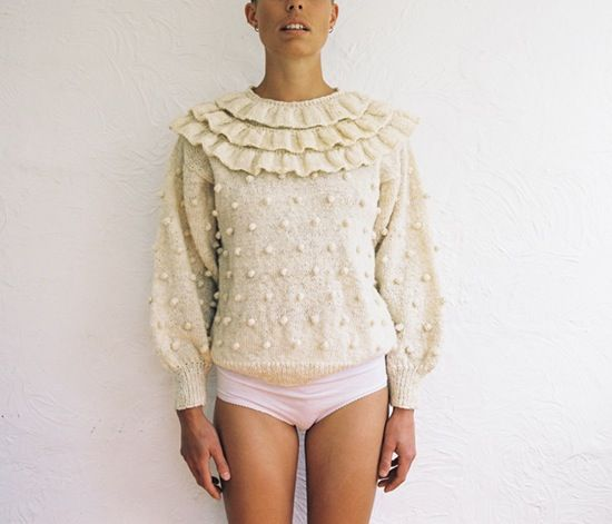 Handknitted Jumper. Slight drop shoulder. Great square armholes. Round neck with ruffle. Handspun raw Perendale wool. Untreated and undyed. Perenda...