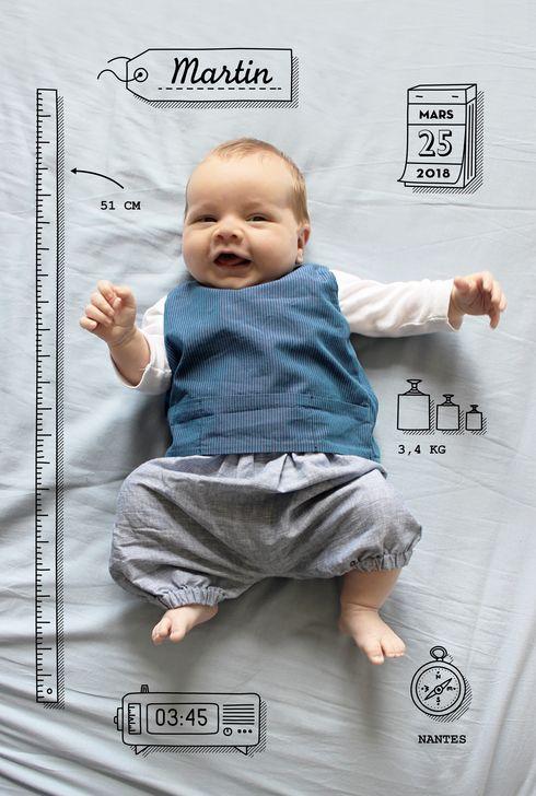 faire part naissance Pictos by Marion Bizet pour www.fairepartnaissance.fr #birth #announcement #rosemood