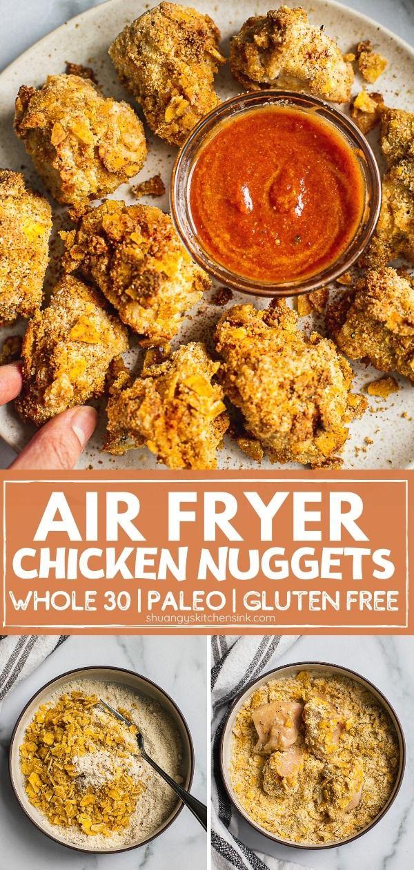 Jul 16, 2020 – Healthy Air Fryer Chicken Nuggets (Paleo, Gluten Free, Whole30)   These healthy Air Fryer chicken nuggets…