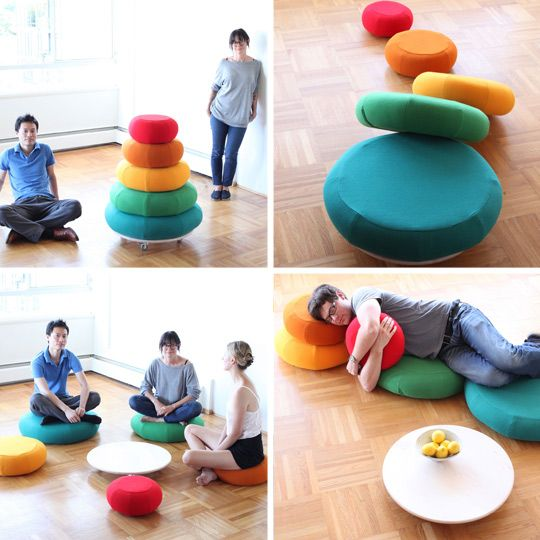 Mounds of rounds.: Diy Diy Floors Poufs, Cumulus Projects, Plays Rooms, Stacking Pillows, Floors Cushions, Color For Kids Rooms Diy, Stacking Rings, Floors Pillows, Fun Floors Projects
