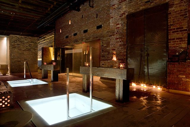 NYC Spa Day at the Aire ancient Baths...heat up, cool off & relax in the varied temperature, candlelit pools. This luxe spa also boasts a floating saltwater pool, a eucalyptus-scented steam room.