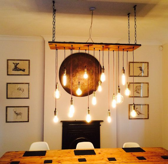 Rustic Wood Chandelier - 17 Pendant Lights Rustic Light Fixture Reclaimed Wood Farm Rustic Lighting LED Bulbs Edison Dining Chandelier