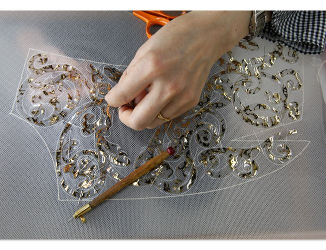 Embroidery for a haute couture dress; fashion atelier; fashion in the making // Chanel