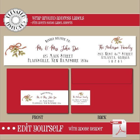 editable christmas address label template wrap around label