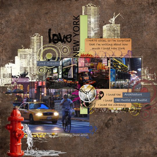 New York.. neat scrapbooking with the picture piling