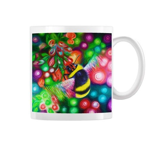 Bumble Bee and Flowers Mug by simon-knott-fine-artist at zippi.co.uk