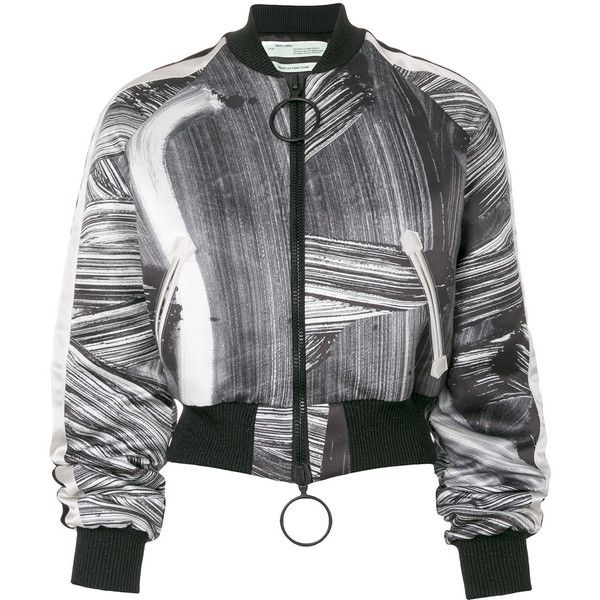 Off-White brushed bomber jacket ($1,429) ❤ liked on Polyvore featuring outerwear, jackets, black, bomber jackets, zip front jacket, flight jacket, style bomber jacket and blouson jacket