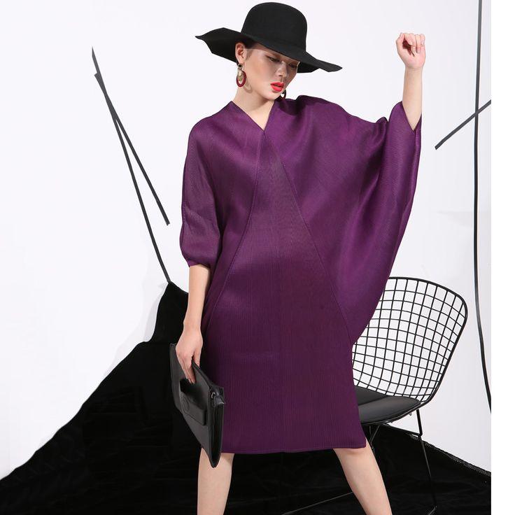 [soonyour] 2016 summer new crimp pattern bat sleeve design big pull loose large size women dress FU11191