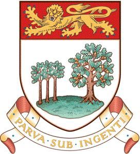 """Prince Edward Island Coat of Arms In the chief of the shield is the lion passant (or """"leopard"""") of England. The lower portion depicts three oak saplings, representing the Island's three counties, beneath a mature oak that originally represented Great Britain"""