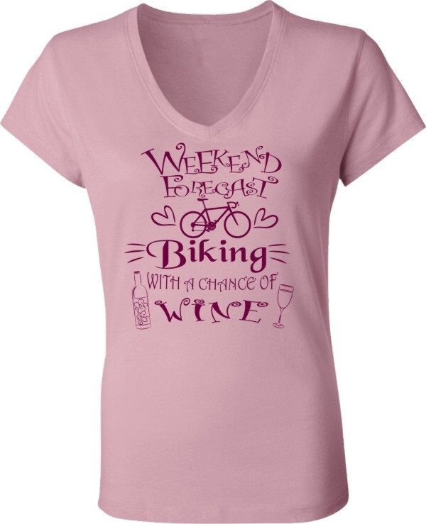 Bicycle T-Shirt for women-Weekend Forecast-Chance of Wine-Road Bike cycling T-shirt in pink by SpokeNwheelz on Etsy https://www.etsy.com/listing/246549313/bicycle-t-shirt-for-women-weekend