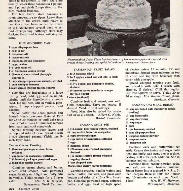 Original Humming Bird Cake Recipe From Southern Living
