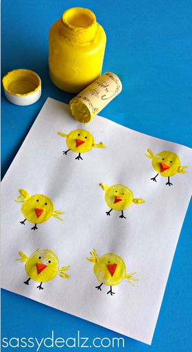 Wine Cork Chicks #Easter Craft for kids! #DIY #Wine