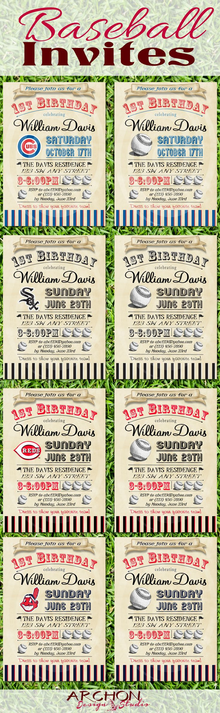 Baseball Party Ideas – these vintage looking baseball invitations - Printable & Personalized by ArchonDesignStudio Chicago Cubs Chicago White Sox Cincinnati Reds Cleveland Indians www.archondesignstudio.com #EtsyFinds