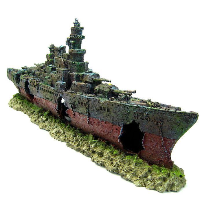 Warship Cave Aquarium Ornament L 49cm - NAVY Battleship ship decor Shipwreck PET #ISTA