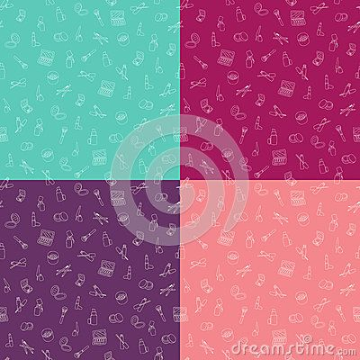 Set Of Seamless Patterns With Makeup Cosmetics On Different Color