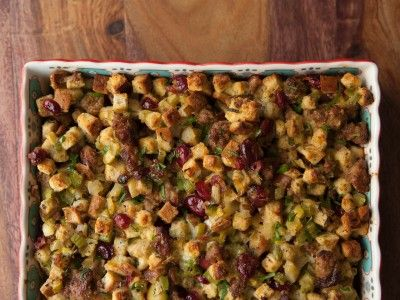 Sausage, Apple and Pear Stuffing with Cranberries