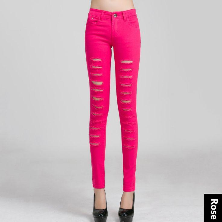 YI-NOKI Women Jeans Slimmer Elasticity Pencil Pants Holes Skinny Jeans Woman Plus Size Black White Ripped Jeans For Women
