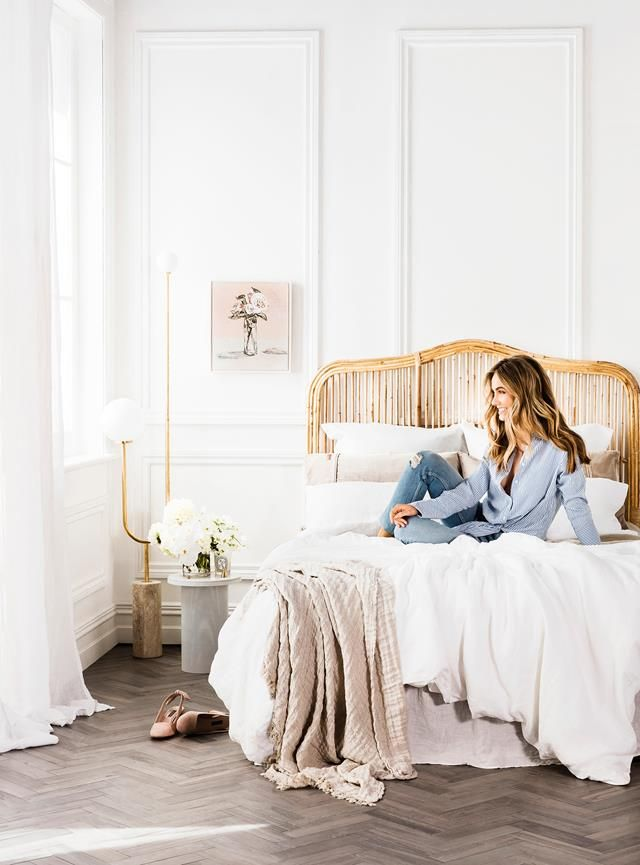 Natural textures in this bedroom are the perfect match for the all white palette. Photography: Maree Homer   Styling: Kerrie-Ann Jones   Story: realliving