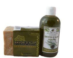 Duo Savon authentique d'alep et savon liquide d'alep.